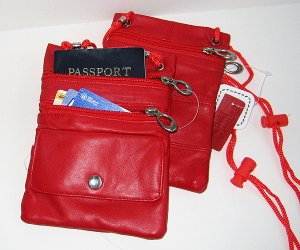2x PASSPORT Leather ID Holder Neck Pouch TRAVEL RED