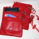 PASSPORT Leather ID Holder Neck Pouch Wallet TRAVEL RED