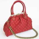 RED  CELEBRITY QUILTED CHAIN Stam Bag Handbag  Purse