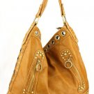 Tan Washed Grommets Faux Leather Handbag Purse