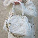 WHITE Quilted Designer Chain Stam Purse Handbag