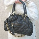 BLACK Quilted Designer Chain Celebrity Purse Handbag