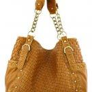 Tan Washed Inspired Designer Woven Oversized Handbag