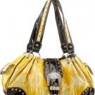 Yellow Shinny Western Buckle Designer Handbag Purse .