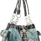 L. Blue Designer Inspired Rhinestone Belt Handbag Bag