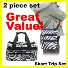 2 Pcs Zebra travel Carry-on Duffle Bag Tote SHORT TRIP