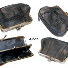 Black Real Leather double frame Large coin purse