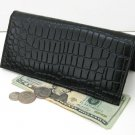 BLACK LEATHER CROC LONG Clutch Credit Card Wallet.