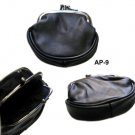 Black Real Leather double frame coin purse S