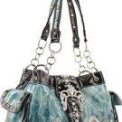 Light Blue Buckle Designer Inspired Rhinestone Belt Handbag Bag New