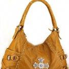 Tan Rhinestones Western Cross Washed handbag bag Cute