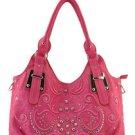 Pink designer Studs floral Western inspired Celebrity Shoulder Bag Purse
