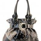 Orange Designer Washed Inspired Pocket Studded Faux Leather Handbag Purse