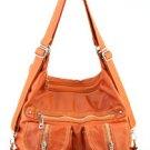 Orange Designer Washed Inspired Pockets Celebs Faux Leather Handbag Purse