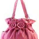 Pink Designer Inspired Ostrich Print Decor Faux Leather Handbag Purse