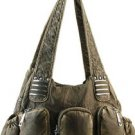 Bronze designer Studs 3 Pocket Western inspired Celebrity Shoulder Bag Purse