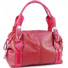 Red designer inspired dual front pocket shoulder Doctor bag Celebrity Handbag