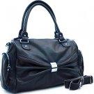 Blue designer inspired front decorative shoulder bag pockets  Purse Handbag