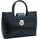 Black Croco Croc inspired Chic Fashion Tote Lady Designer Celebrity Handbag