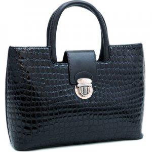 Black Croco Croc inspired Chic Fashion Tote Lady Designer Celebrity Handbag