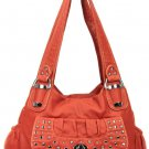 Bronze Studded Hip Shoulder Inspired Designer Washed Handbag Purse Cute!
