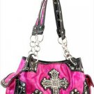 Pink  Designer Cross Studs Chain Inspired tote Shinny Handbag Purse Western