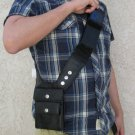 Black Leather Hidden Gun Pouch Messenger Pocket Travel Passport Phone Bag RS-26