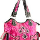 Pink Designer Cross Inspired Faux Leather Western Shinny Handbag Purse