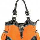 Orange Designer Rhinestone Inspired Faux Leather Western Handbag Purse