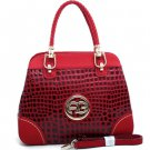 Red Sophisticated Designer Croco Embossed Inspired Tote Handbag Braided Strap