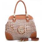 Brown Sophisticated Designer Croco Embossed Inspired Tote Handbag Braided Strap