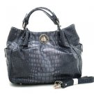 Scrunched Designer Style Soft Croco Tote Twist-lockInspired Handbag Grey