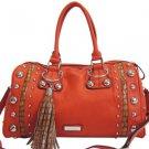 Orange  designer inspired Large Studded Satchel Croco Trim Tassel Handbag Purse