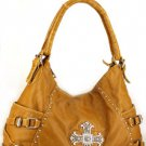 Tan Brown. Nice Western Cross Inspired Designer Shoulder Handbag Purse