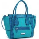 Blue  designer inspired Large Tote  Croco Trim Detachable Strap Handbag Purse