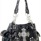 Black Designer Cross Studs Chain Inspired tote Shinny Handbag Purse Western