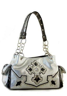 Silver Designer Cross Studs  Inspired tote Western Handbag Purse New