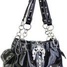 Black. Buckle Designer Inspired Rhinestone Belt Handbag Bag NR