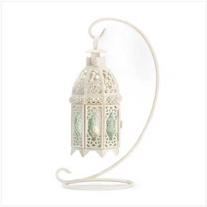White Fancy Candle Lantern W/Stand