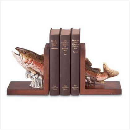 Jumping Trout Wood Bookends