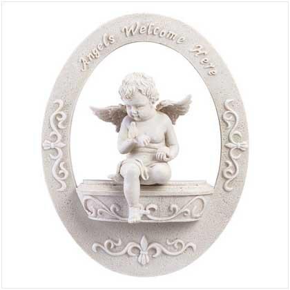 Angels Welcome Cherub Wall Plaque