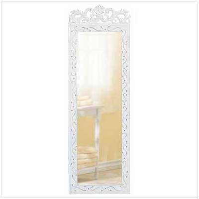 White Distressed Door/Wall Mirror