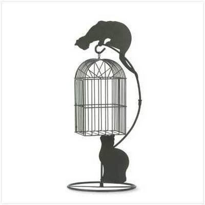 Metal Birdcage & Cat Planter