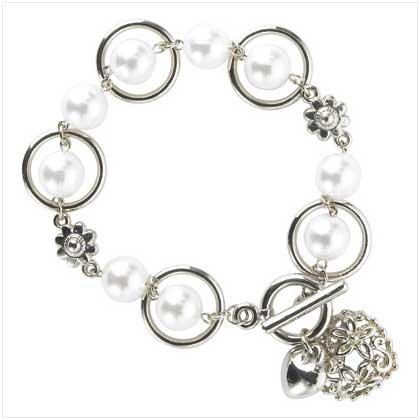 Pearl Hoop Bracelet & Heart Toggle Clasp