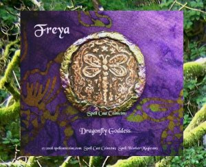 Spell Cast Coins (tm) Freya Dragonfly Goddess Enchanted Wishing Coin Handmade