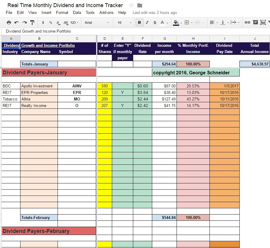 Real Time Monthly Dividend and Income Tracker