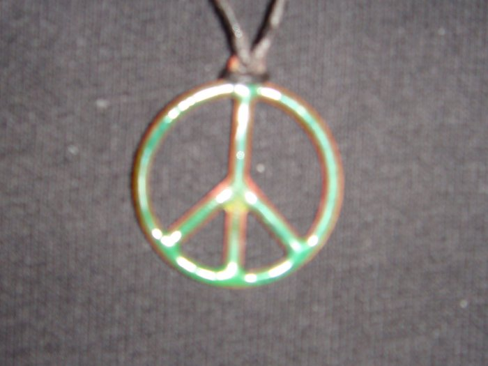 Green Peace Sign Necklace