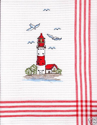 BEAUTIFUL EMBROIDERED LIGHTHOUSE DISHTOWEL