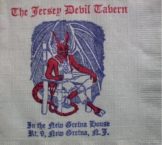 Old South Jersey Devil Tavern Paper Cocktail Bar Napkin