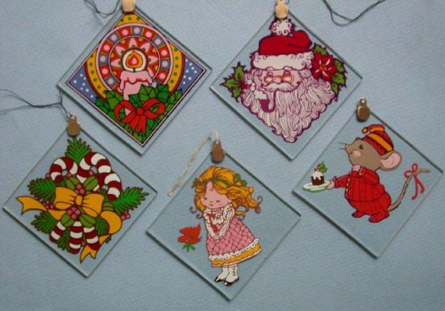 1980 Vintage Set 5 Glass Squares Christmas Ornaments